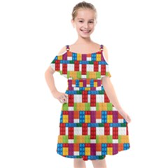 Lego Background Rainbow Kids  Cut Out Shoulders Chiffon Dress by AnjaniArt