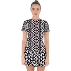 Geometric Tile Background Drop Hem Mini Chiffon Dress by Bajindul