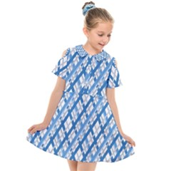 Geometric Overlay Blue Kids  Short Sleeve Shirt Dress by Bajindul