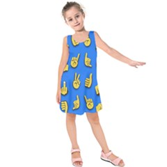 Emojis Hands Fingers Kids  Sleeveless Dress by Bajindul
