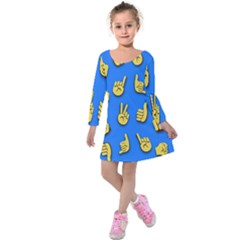 Emojis Hands Fingers Kids  Long Sleeve Velvet Dress by Bajindul