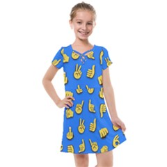 Emojis Hands Fingers Kids  Cross Web Dress by Bajindul