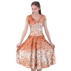 Scrapbook Orange Shades Cap Sleeve Wrap Front Dress