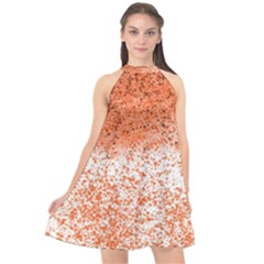 Scrapbook Orange Shades Halter Neckline Chiffon Dress