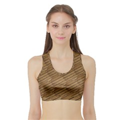 Wood Texture Wooden Sports Bra With Border