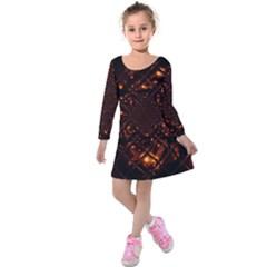 Fire Glass Fractal Kids  Long Sleeve Velvet Dress by Pakrebo