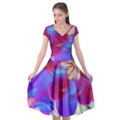 Colorful Abstract Design Pattern Cap Sleeve Wrap Front Dress