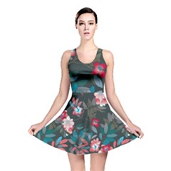 Floral Pattern Background Art Reversible Skater Dress