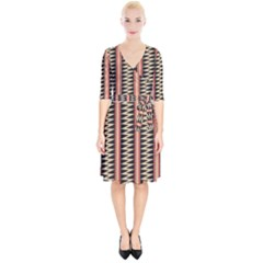 Zigzag Tribal Ethnic Background Wrap Up Cocktail Dress