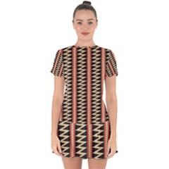 Zigzag Tribal Ethnic Background Drop Hem Mini Chiffon Dress by Pakrebo