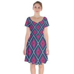 Purple Textile And Fabric Pattern Short Sleeve Bardot Dress