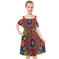 Hungarian Mandala Flower Kids  Cut Out Shoulders Chiffon Dress by Pakrebo