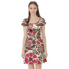 Floral Ethnic Pattern Short Sleeve Skater Dress