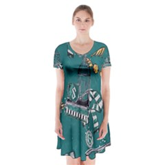 Slytherin Pattern Short Sleeve V Neck Flare Dress by Sobalvarro