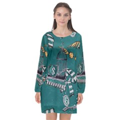 Slytherin Pattern Long Sleeve Chiffon Shift Dress  by Wmcs91