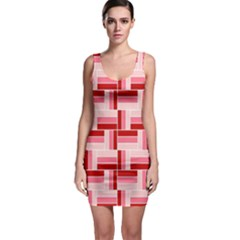 Burgundy Pattern Stripes Bodycon Dress by Alisyart