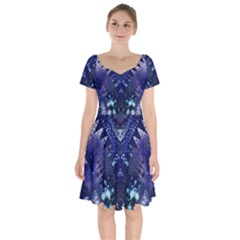 Blue Fractal Lace Tie Dye Short Sleeve Bardot Dress by KirstenStar