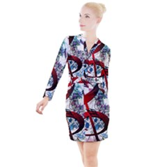 Music Treble Clef Sound Button Long Sleeve Dress