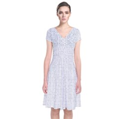 Binary Background Short Sleeve Front Wrap Dress