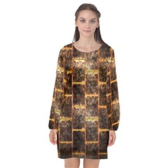 Wallpaper Iron Long Sleeve Chiffon Shift Dress