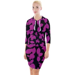 Dark Botanical Motif Print Pattern Quarter Sleeve Hood Bodycon Dress by dflcprintsclothing