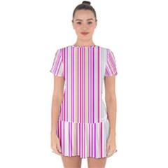 Brightstrips Drop Hem Mini Chiffon Dress by designsbyamerianna