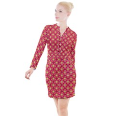 Red Yellow Pattern Design Button Long Sleeve Dress