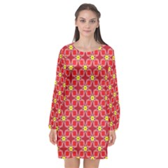 Red Yellow Pattern Design Long Sleeve Chiffon Shift Dress
