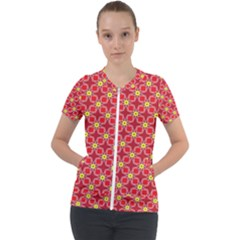 Red Yellow Pattern Design Short Sleeve Zip Up Jacket by Alisyart