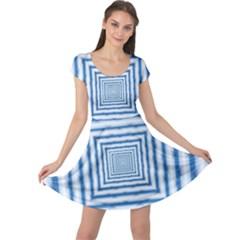 Metallic Blue Shiny Reflective Cap Sleeve Dress