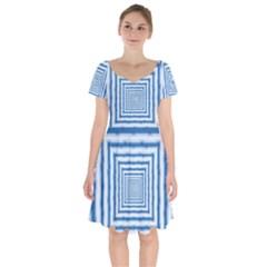 Metallic Blue Shiny Reflective Short Sleeve Bardot Dress