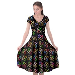 Scissors Pattern Colorful Prismatic Cap Sleeve Wrap Front Dress