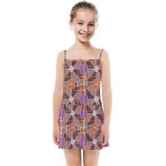 Decorated Colorful Bright Pattern Kids  Summer Sun Dress by Pakrebo