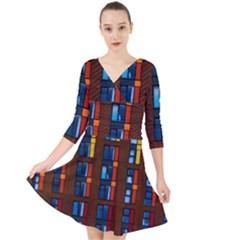 Architecture Color Colour Windows Quarter Sleeve Front Wrap Dress