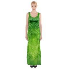 Pagan Mandala Seamless Tileable Green Maxi Thigh Split Dress