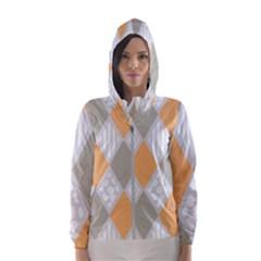 Non Seamless Pattern Diamond Shape Women s Hooded Windbreaker by Pakrebo