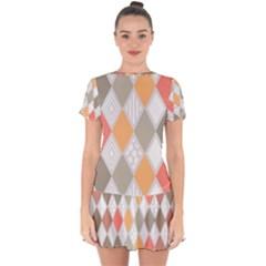 Non Seamless Pattern Diamond Shape Drop Hem Mini Chiffon Dress by Pakrebo