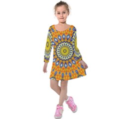 Fractal Kaleidoscope Mandala Kids  Long Sleeve Velvet Dress by Pakrebo