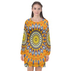 Fractal Kaleidoscope Mandala Long Sleeve Chiffon Shift Dress