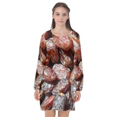 Dates Fruit Sweet Dry Food Long Sleeve Chiffon Shift Dress