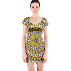 Fractal Kaleidoscope Mandala Short Sleeve Bodycon Dress