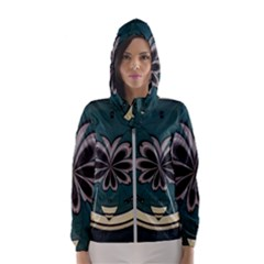 Green And White Pattern Women s Hooded Windbreaker by Pakrebo