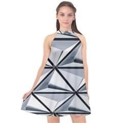 White Architectural Structure Halter Neckline Chiffon Dress