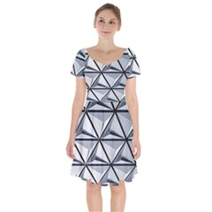 White Architectural Structure Short Sleeve Bardot Dress