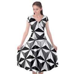 Black And White Diamond Shape Wallpaper Cap Sleeve Wrap Front Dress by Pakrebo