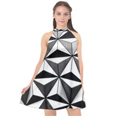 Black And White Diamond Shape Wallpaper Halter Neckline Chiffon Dress