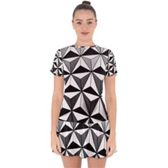 Black And White Diamond Shape Wallpaper Drop Hem Mini Chiffon Dress