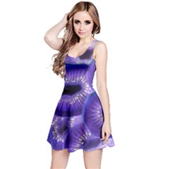 Sliced Kiwi Fruits Purple Reversible Sleeveless Dress
