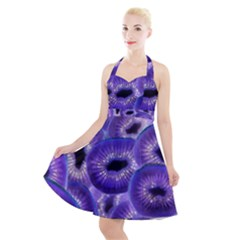 Sliced Kiwi Fruits Purple Halter Party Swing Dress  by Pakrebo