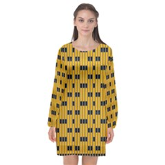 Yellow And Black Pattern Long Sleeve Chiffon Shift Dress  by Pakrebo